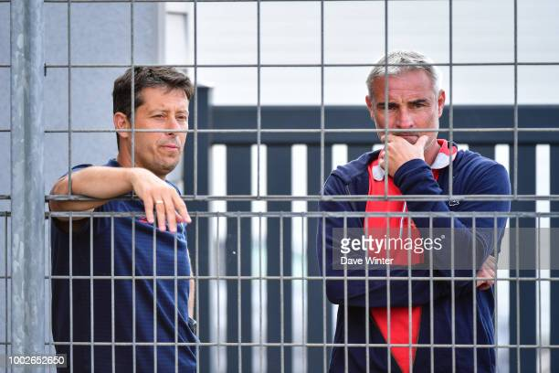 Caen coach Fabien Mercadal and Caen sporting director Alain Caveglia during the preseason friendly match for the Trophee des Normands between Caen...
