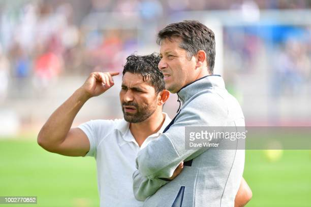 Caen coach Fabien Mercadal and Le Havre coach Oswald Tanchot during the preseason friendly match for the Trophee des Normands between Caen and Le...