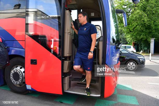 Caen coach Fabien Mercadal arrives for the preseason friendly match for the Trophee des Normands between Caen and Le Havre on July 20 2018 in Vire...