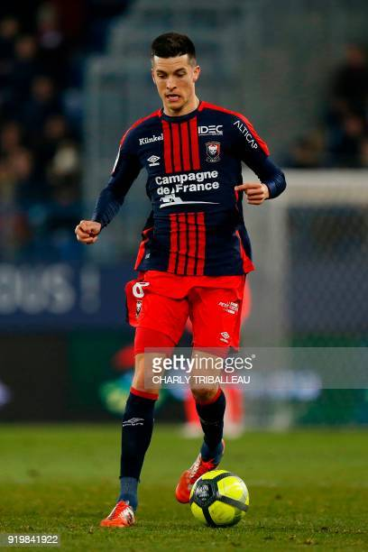Caen's Belgian midfielder Stef Peeters controls the ball during the French L1 football match between Caen and Rennes on February 17 at the Michel...