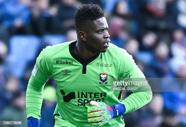 Caen's Congolese goalkeeper Brice Samba reacts during the French L1 football match between Montpellier and Caen on January 27 2019 at the Mosson...