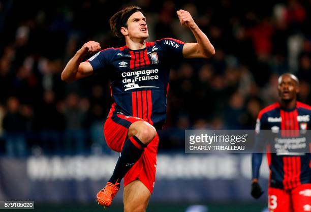 Caen's Croatian forward Ivan Santini celebrates after scoring a goal during the French L1 football match between Caen and Bordeaux on November 25 at...