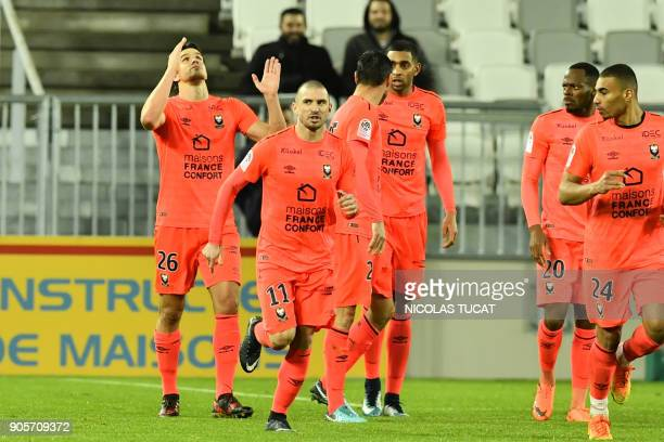 Caen's Croatian forward Ivan Santini celebrates after scoring a goal during the French L1 football match between Bordeaux and Caen on January 16 2018...