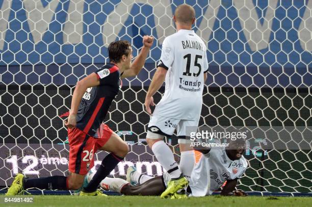 Caen's Croatian forward Ivan Santini reacts after scoring during the French L1 football match between Caen and Dijon on September 9 at the Michel...