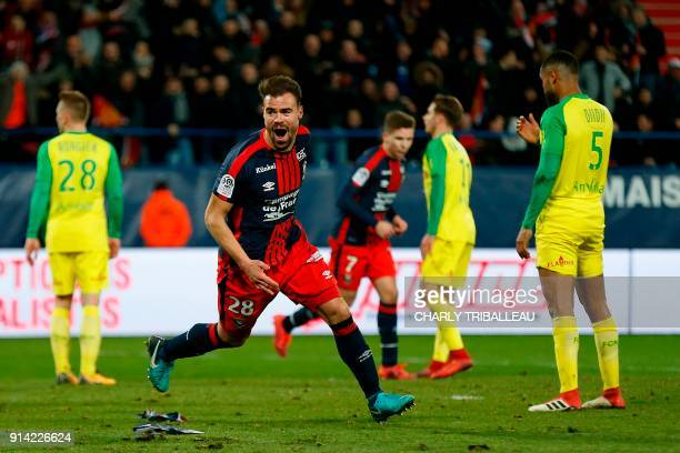 Caen's French defender Damien Da Silva celebrates after scoring a goal during the French L1 football match between Caen and Nantes on February 4 at...