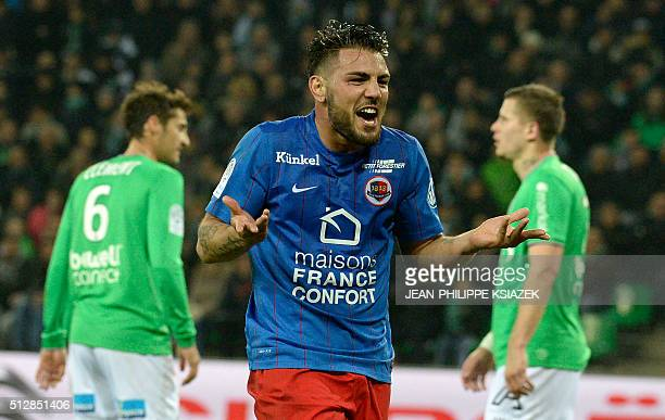 Caen's French forward Andy Delort celebrates after scoring a goal during the French L1 football match SaintEtienne vs Caen on February 28 at the...