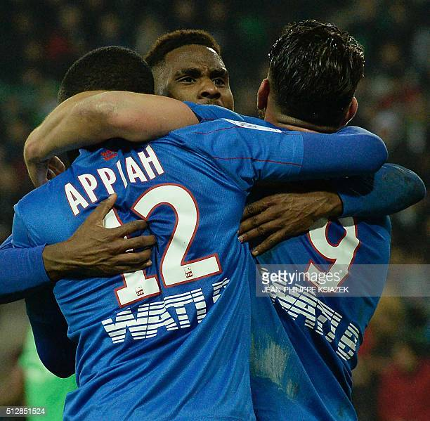 Caen's French forward Andy Delort celebrates with teammates after scoring a goal during the French L1 football match SaintEtienne vs Caen on February...