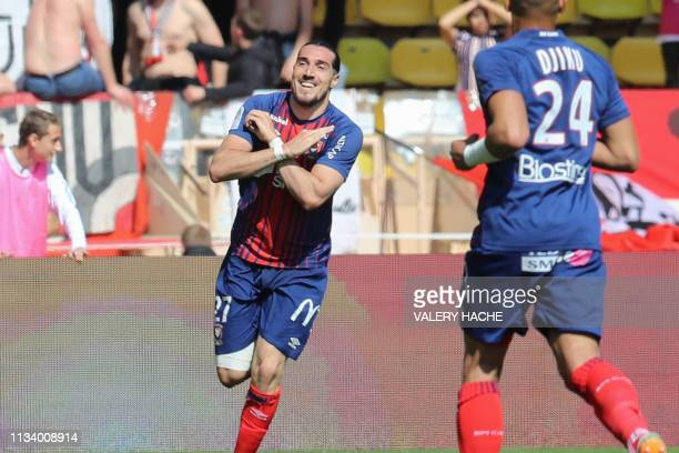 Caen's French forward Enzo Crivelli celebrates after scoring a goal during the French L1 football match between Monaco and Caen on March 31 2019 at...