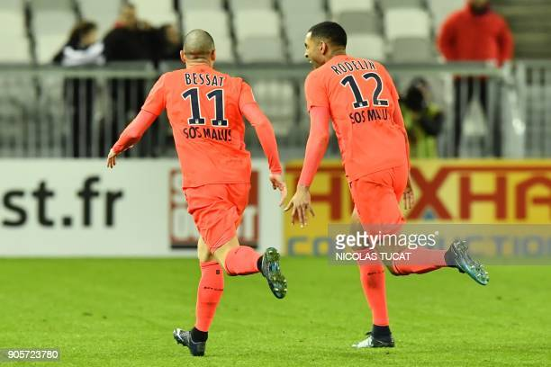 Caen's French forward Sylvio Ronny Rodelin reacts after scoring a goal during the French L1 football match between Bordeaux and Caen on January 16...