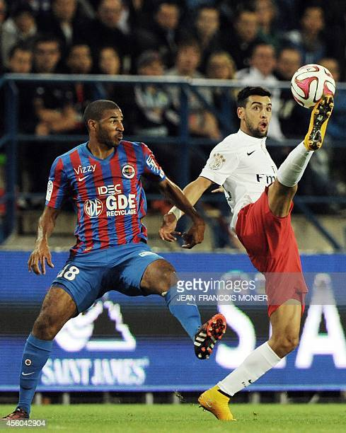 Caen's French midfielder Jordan Adeoti vies for the ball with Paris' Argentine midfielder Javier Pastore during the French L1 football match between...