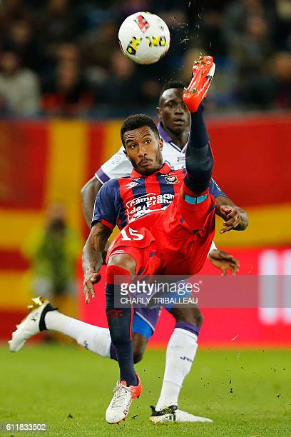 Caen's French-Beninese defender Emmanuel Imorou kicks the ball during the French L1 football match between Caen and Toulouse, on October 1, 2016 at...