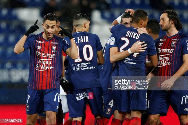 Caen's Tunisian midfielder Saif Eddine Khaoui celebrates after scoring a goal during the French L1 football match between Caen and Toulouse on...