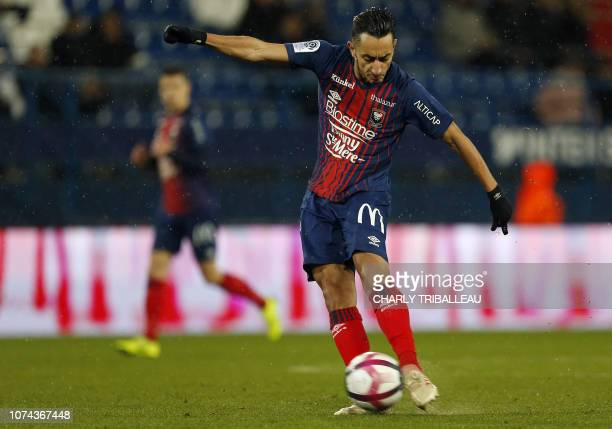 Caen's Tunisian midfielder Saif Eddine Khaoui scores a goal during the French L1 football match between Caen and Toulouse on December 18 at the...