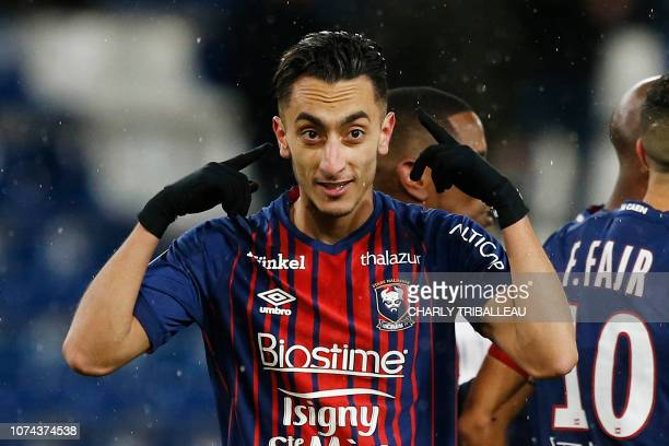 Caen's Tunisian midfielder SaifEddine Khaoui celebrates after scoring during the French L1 football match between Stade Malherbe Caen and Toulouse...