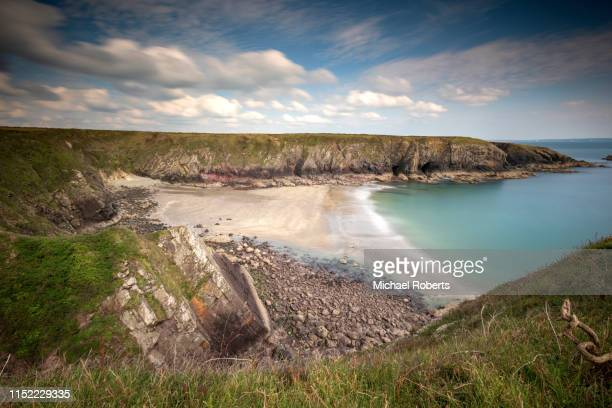 caerfai beach on the pembrokeshire coastal path near st davids - st davids stock pictures, royalty-free photos & images