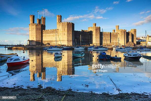 Caernarfon Castle across the banks of the Afon Seiont.