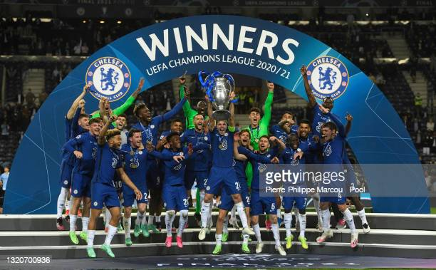 Caesar Azpilicueta of Chelsea lifts the Champions League Trophy following their team's victory in during the UEFA Champions League Final between...