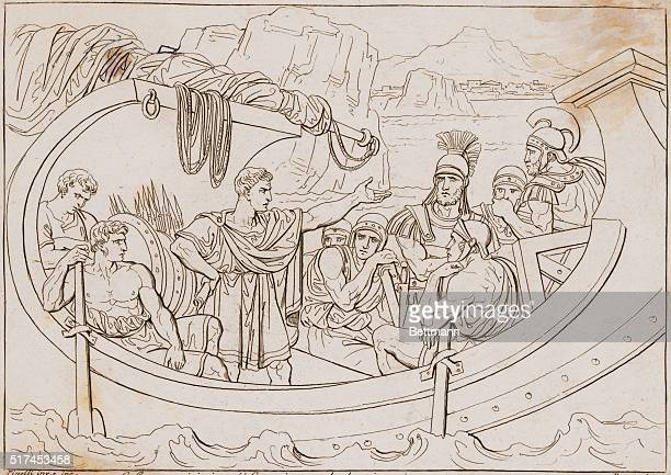 Caesar captured by pirates turns around and gives them imperious commands Etching 1820