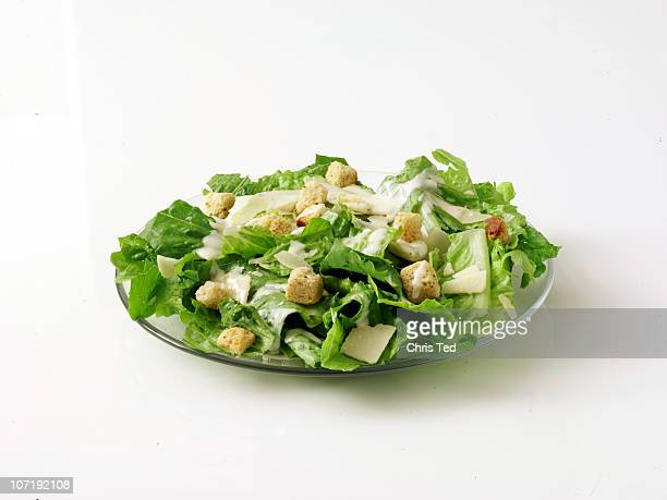 Caesar Salad on Plate with White Background