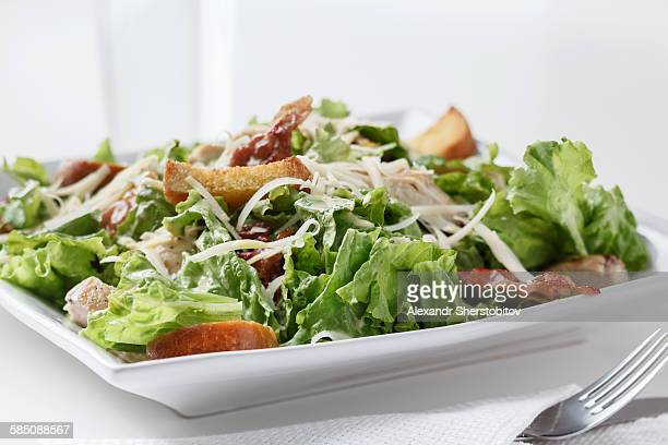 caesar salad - crouton stock photos and pictures