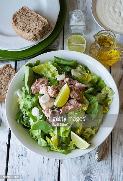 Caesar salad with cod liver