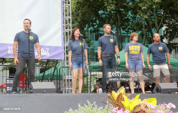 Caesar Samayoa Pearl Sun Tony LePage Petrina Bromley and Geno Carr from the cast of 'Come From Away' performs at 1067 LITE FM Broadway in Bryant Park...