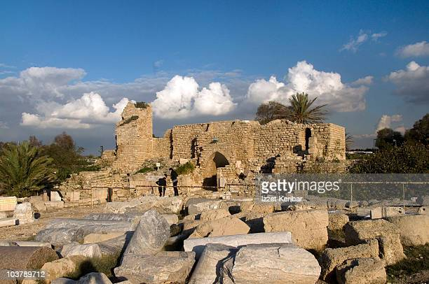 caesarea old city ruins. - haifa stock pictures, royalty-free photos & images
