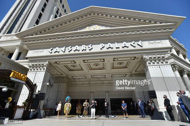 Caesars Entertainment CEO Tony Rodio speaks at Caesars Palace on the Las Vegas Strip as the property opens for the first time since being closed on...