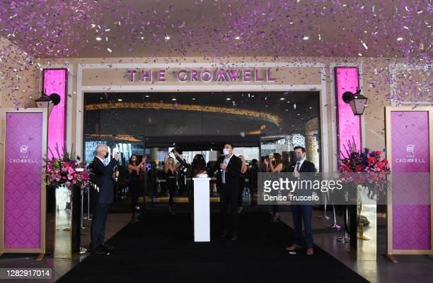 """Caesars Entertainment Las Vegas Regional President Gary Selesner , Senior Vice President and General Manager of The Cromwell Ken Janssen and """"Love..."""