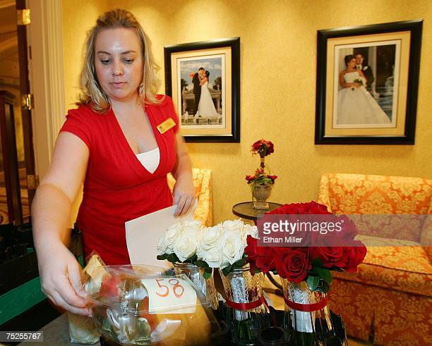 Caesars Palace wedding services assistant manager Angela Cooper checks floral deliveries for weddings being held tomorrow at Caesars Palace July 6...