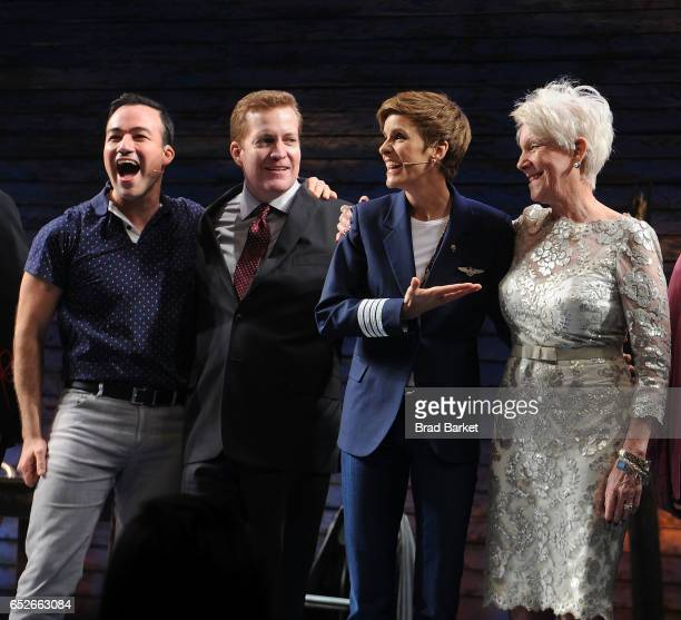 Caeser Samayoa Chad Kimball Jenn Colella and Beverly Bass from the cast of the Come From Away Broadway Opening Night Curtain Call at Gerald...