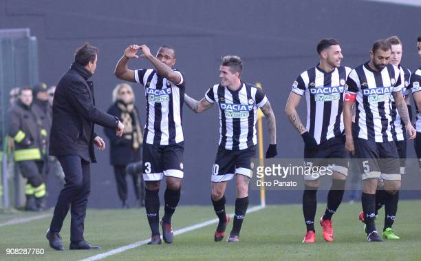 Caetano De Souza Samir of Udinese calcio celebrates after scoring the opening goal during the serie A match between Udinese Calcio and Spal at Stadio...
