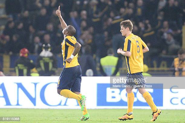 Caetano Samir of Hellas Verona FC celebrates after scoring the opening goal during the Serie A match between Bologna FC and Hellas Verona FC at...