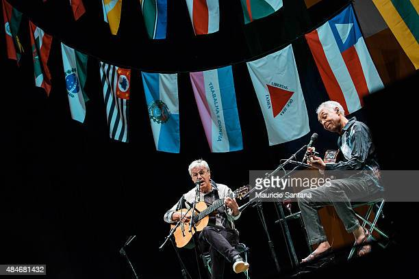 Caetano Veloso and Gilberto Gil perform in Sao Paulo at Citibank Hall on August 20 2015 in Sao Paulo Brazil
