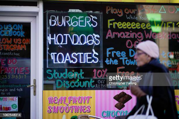 Cafe advertises its burgers, hot dogs and toasties in Blackpool on November 02, 2018 in London, England. Blackpool was listed as third in a list of...