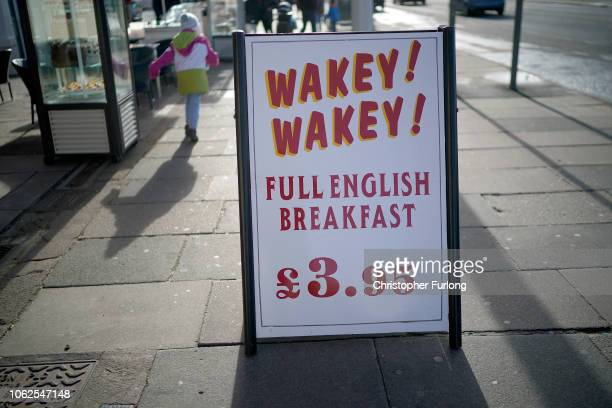 Cafe advertises its full english breakfast in Blackpool on November 02, 2018 in London, England. Blackpool was listed as third in a list of the UK's...