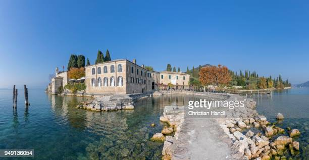 Cafe and small port, Parco Baia delle Sirene, Garda, Lake Garda, Veneto, Italy