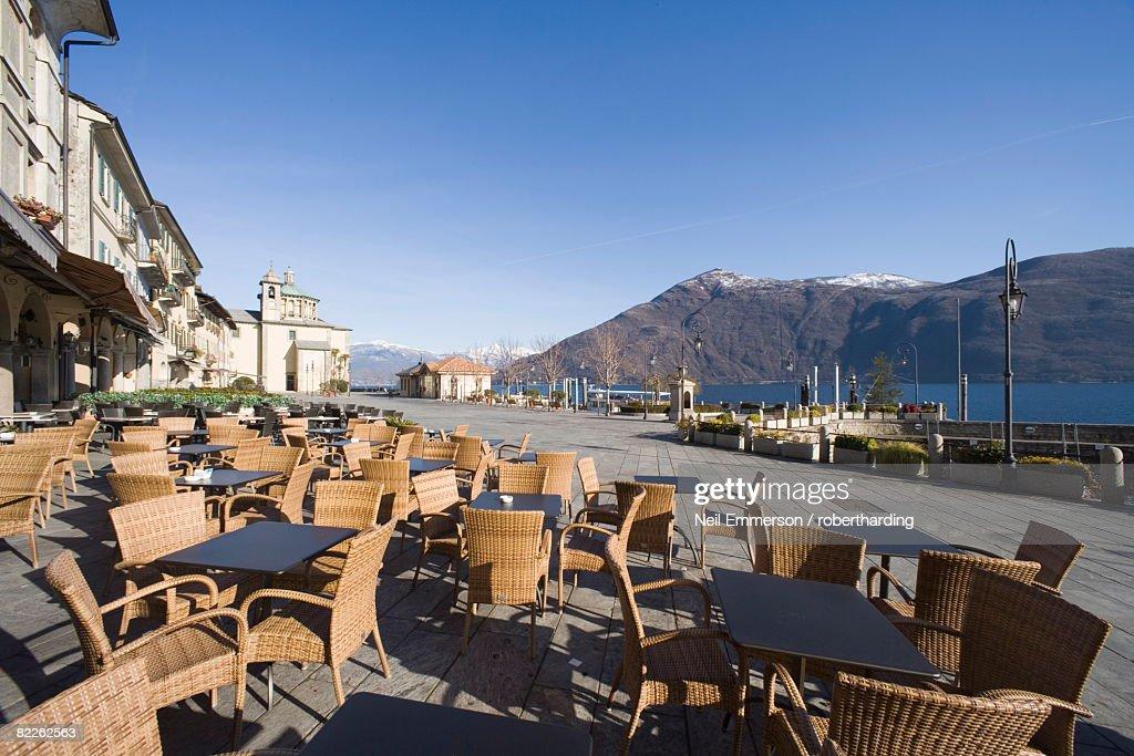 Cafe at Cannobio, Lake Maggiore, Piedmont, Italian Lakes, Italy, Europe : Stock Photo