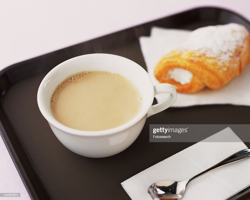 Cafe au Lait and Bread, High Angle View, Full Frame, Differential Focus : Stock Photo