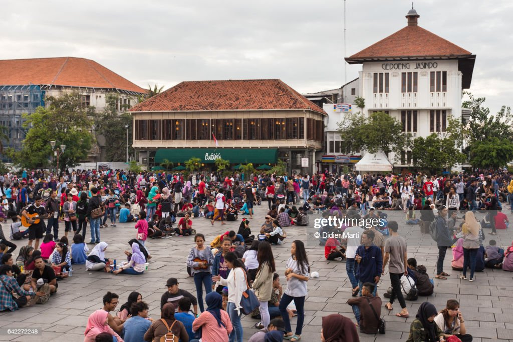 Cafe Batavia on Fatahillah Square in Jakarta old town in Indonesia : Stock Photo