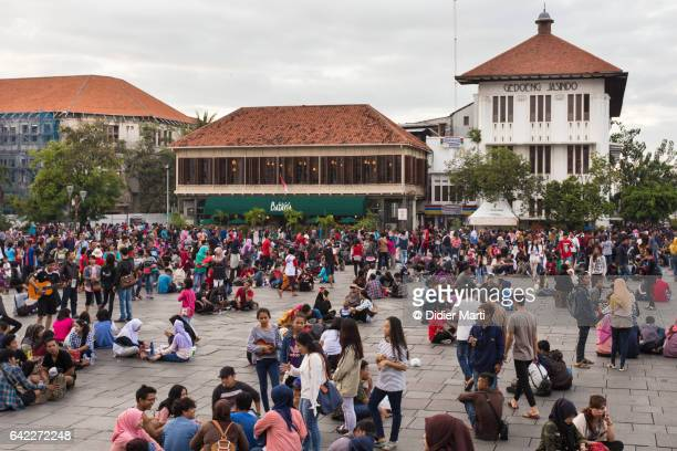cafe batavia on fatahillah square in jakarta old town in indonesia - didier marti stock photos and pictures