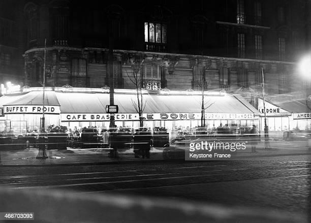 Cafe Brasserie Le Dome in November 1929 in Paris France