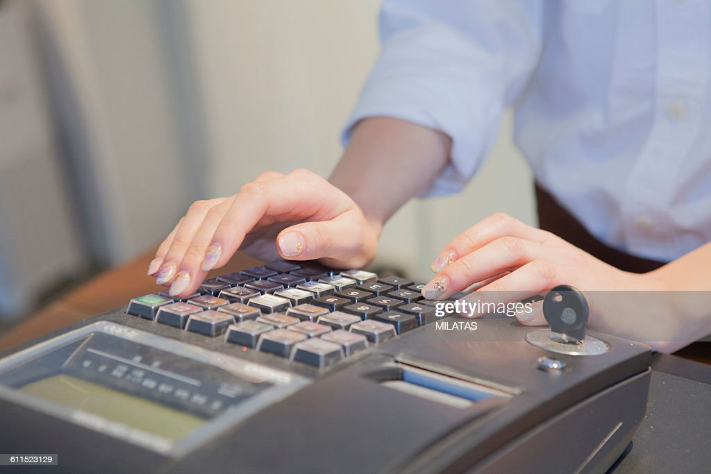 Cafe clerk of Japanese woman : Stock Photo