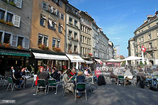 Cafe culture in the old town of Geneva Switzerland on October 17 2007 in Geneva Switzerland