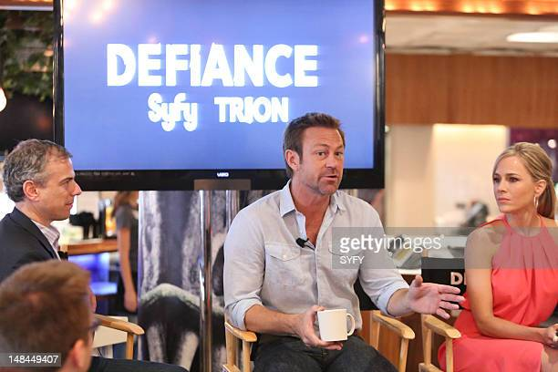 """Cafe Defiance Press Breakfast and Defiance Panel at Comic Con in San Diego California on Friday, July 13, 2012"""" -- Pictured: Grant Bowler, Julie Benz..."""