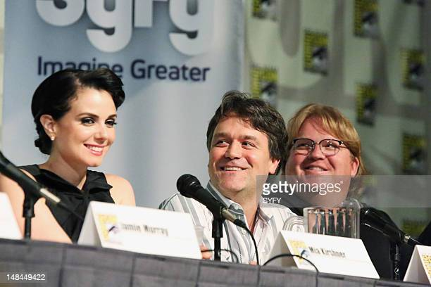 """Cafe Defiance Press Breakfast and Defiance Panel at Comic Con in San Diego California on Friday, July 13, 2012"""" -- Pictured: Mia Kirshner, Kevin..."""