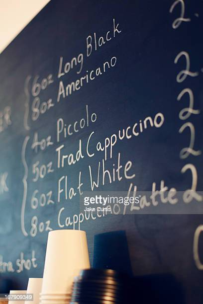 cafe hot drinks menu on blackboard
