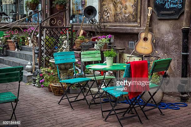 Café dans la vieille ville de Gdansk, Pologne