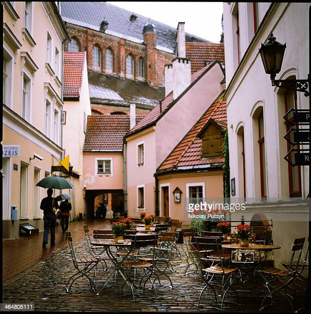 CONTENT] Cafe in the rain at the center of Riga Latvia September 2011/