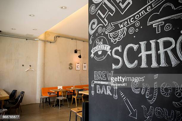 Cafe interior and text on blxkboard
